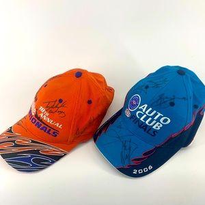 NHRA Powerade signed drag racing caps